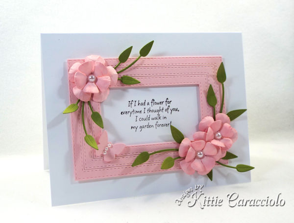 Framed die cut paper flowers are so elegant on a card.