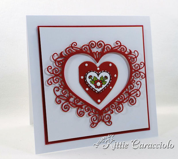 Handmade Die Cut Flourish Heart Valentine Card