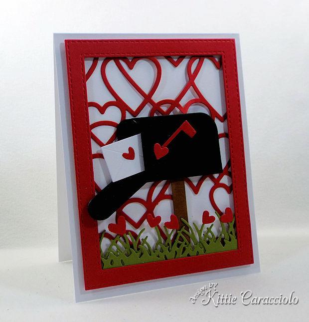 Heart Framed Mailbox Valentine Scene card