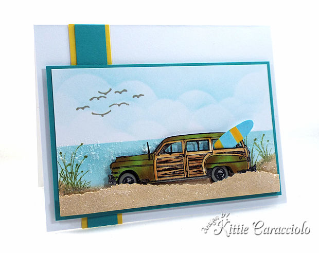 It's so easy to make a Vintage Woody Car Beach Scene