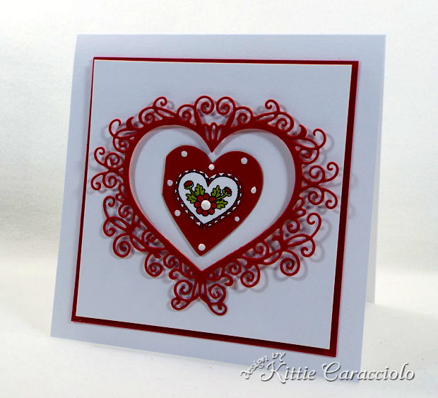 Making a Handmade Die Cut Flourish Heart Valentine Card is so fun and easy