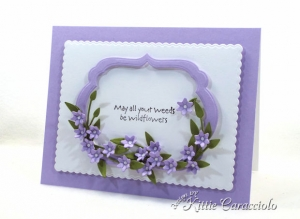 Tiny Handmade Paper Flowers and Frame Card