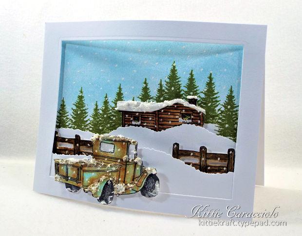 Vintage Truck Snow Scene