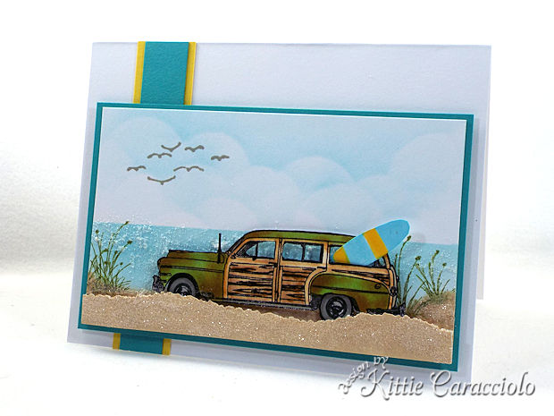 Vintage Woody Car Beach Scene