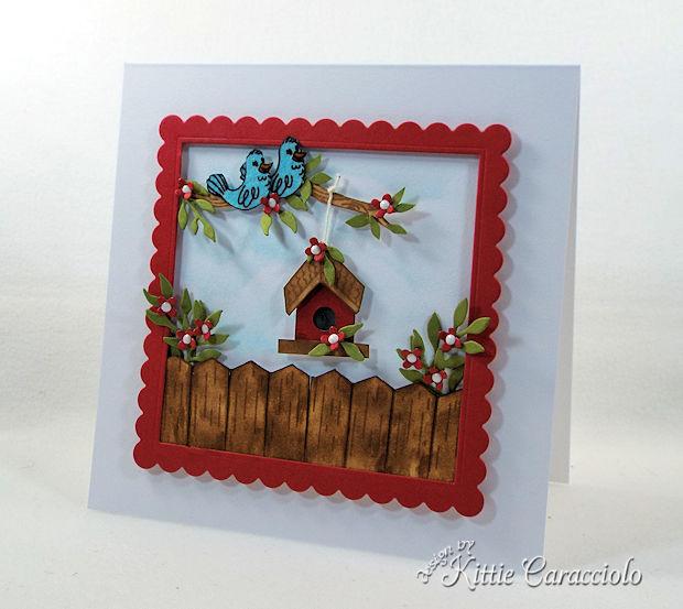 handmade die cut ourdoor birdhouse scene card