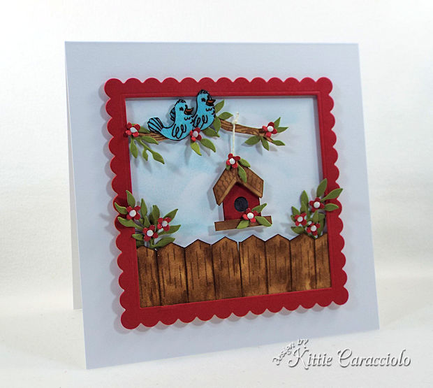 would you like to learn to make handmade die cut ourdoor birdhouse scene card