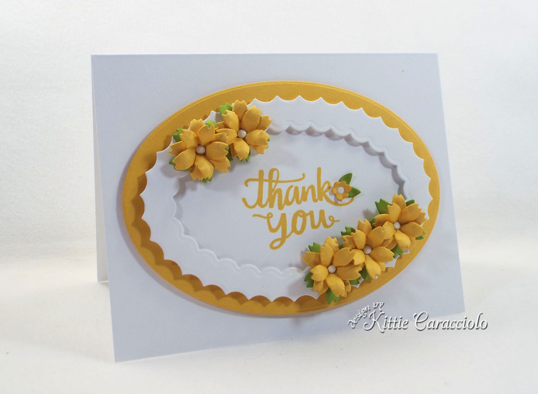 Handmade die cut flowers card.