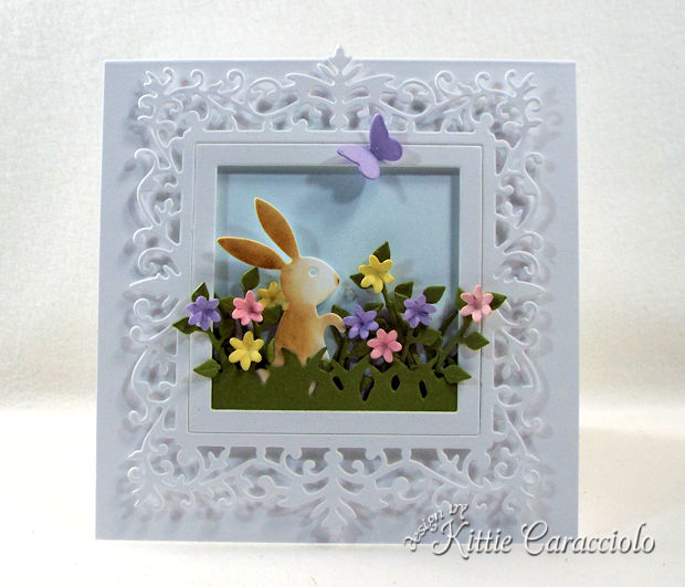 Making an Easter bunny spring scene with flowers is fast and easy.