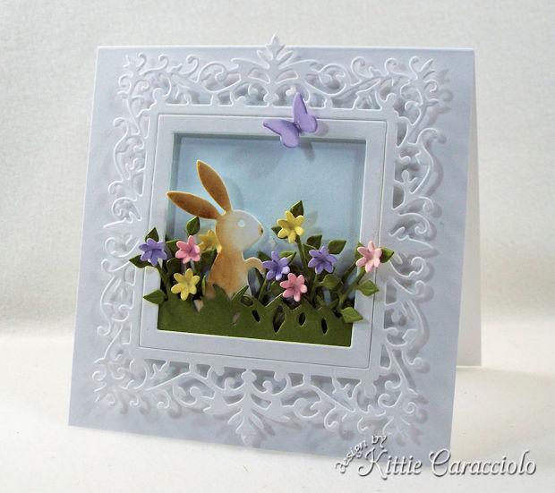 Making an Easter bunny spring scene with flowers is lots of fun.