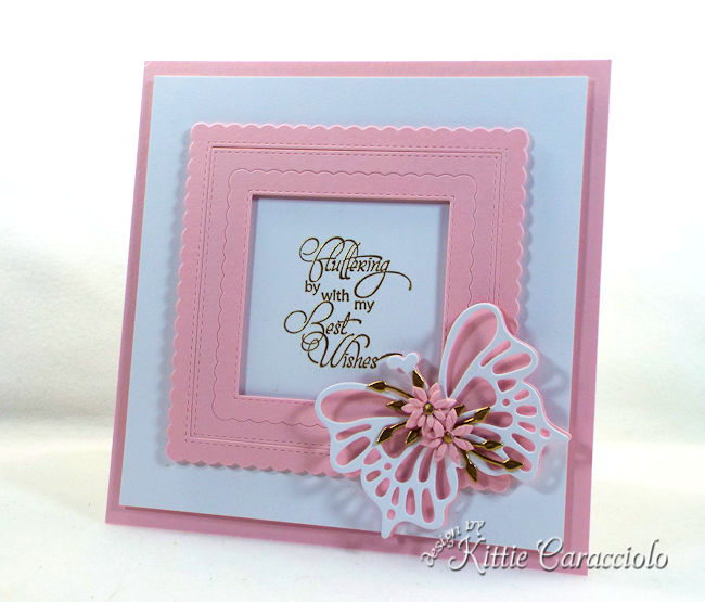 A card with die cut butterflfy wings and flowers is so elegant.