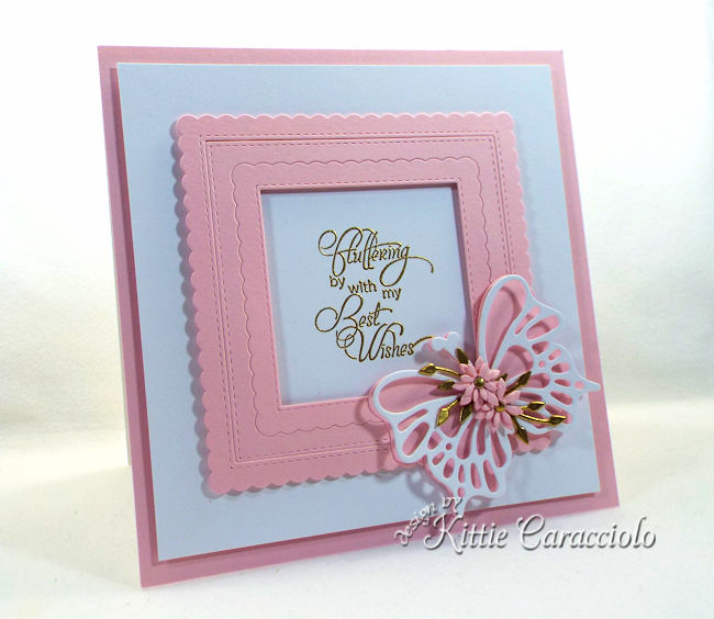 A card with die cut butterflfy wings and flowers is so pretty and elegant.