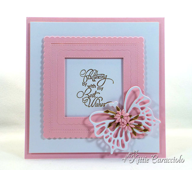 A card with die cut butterflfy wings and flowers is so pretty.