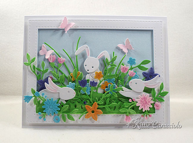 Die cut Easter Bunnies cards are easy to make.