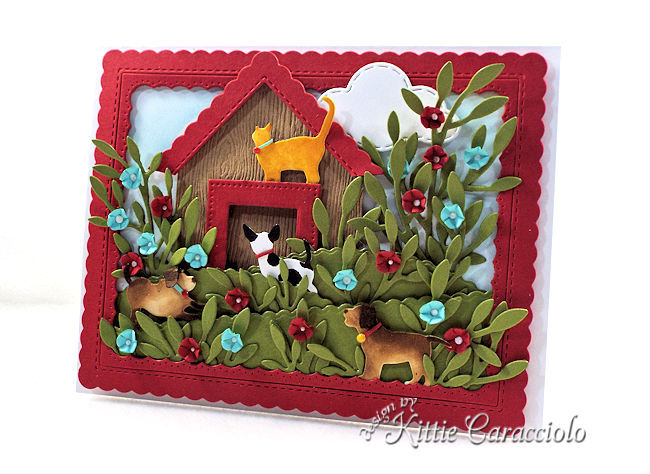 Die cut dogs and cats make fun scene cards.