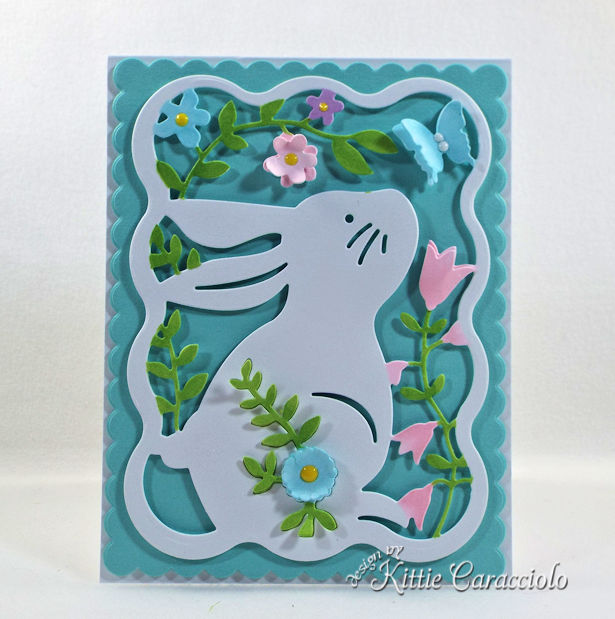 Die cut easter bunny card for spring.