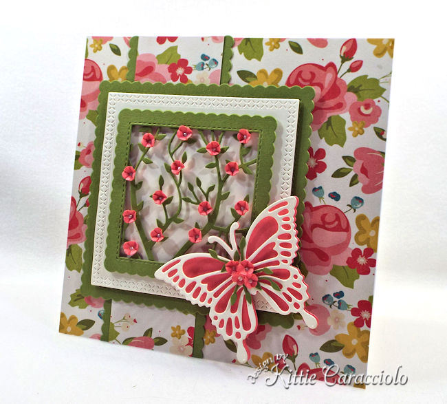 Framed flowers and butterfly make such a pretty card front.