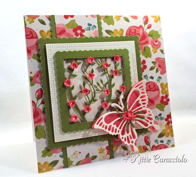 Framed flowers and butterfly make such an elegant and lovely card front.