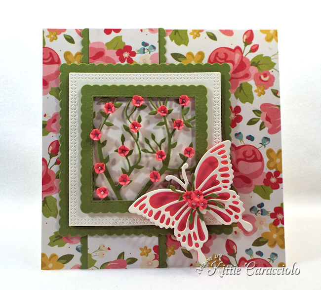 Framed flowers and butterfly make such an elegant card front.