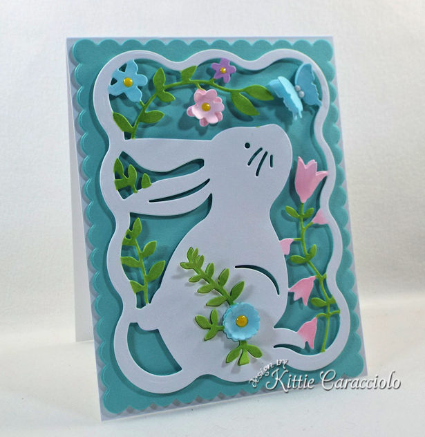 Making a die cut easter bunny card for spring.