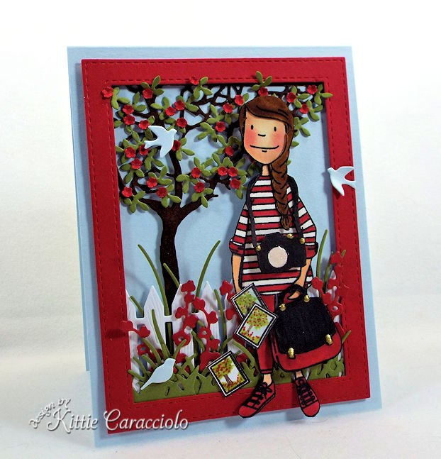 Making a die cut outdoor scene on a card front is fun and easy.