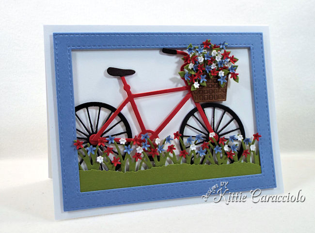 A bike die cut is so fun to use on a feminine card front.