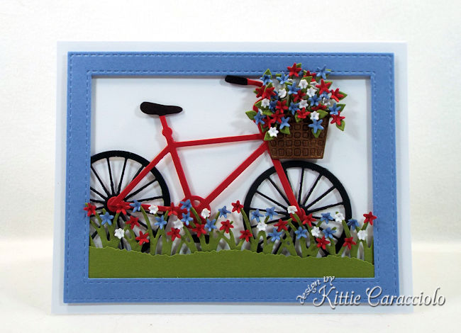 A bike die cut is so fun to use on both a masculine and feminine card front