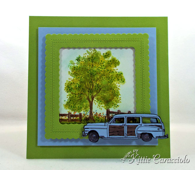 Create a masculine card with a vintage car die cut and outdoor scene.
