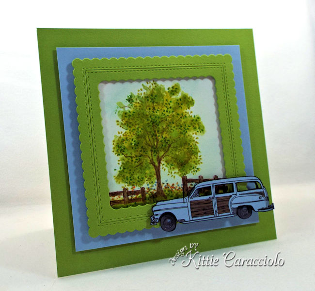Create a masculine card with a vintage car die cut and outdoor tree scene.
