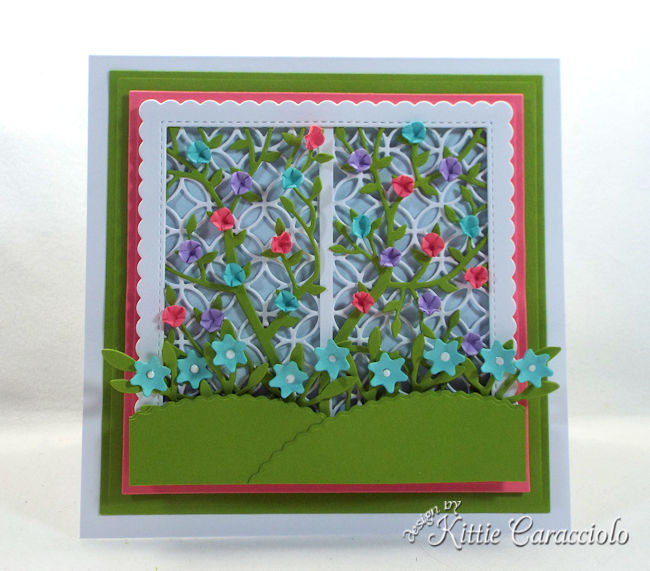 Create a pretty card front using a garden lattice die for a friend who loves gardening.