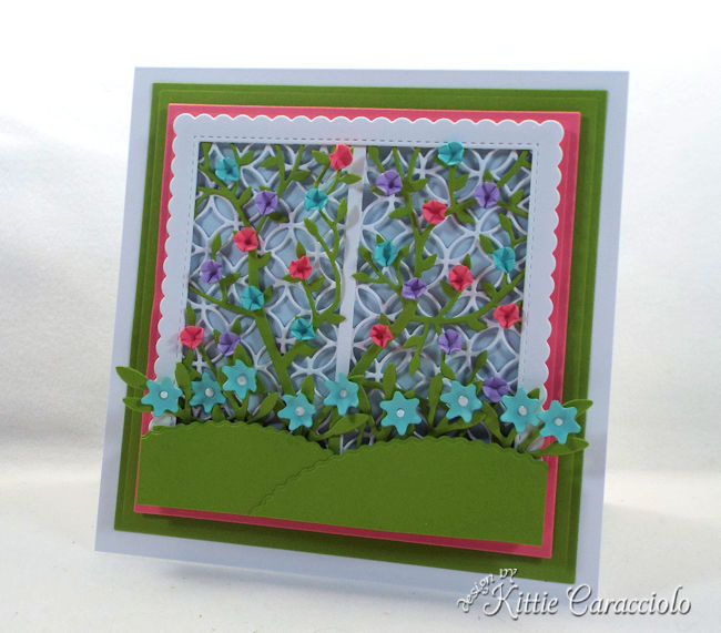 Create a pretty card front using a garden lattice die for someone who loves gardening.