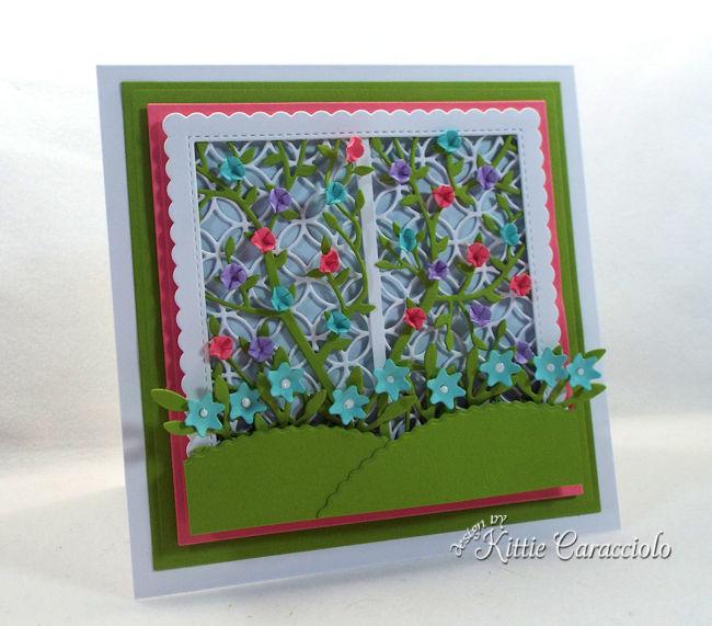 Create a pretty card front using a garden lattice die