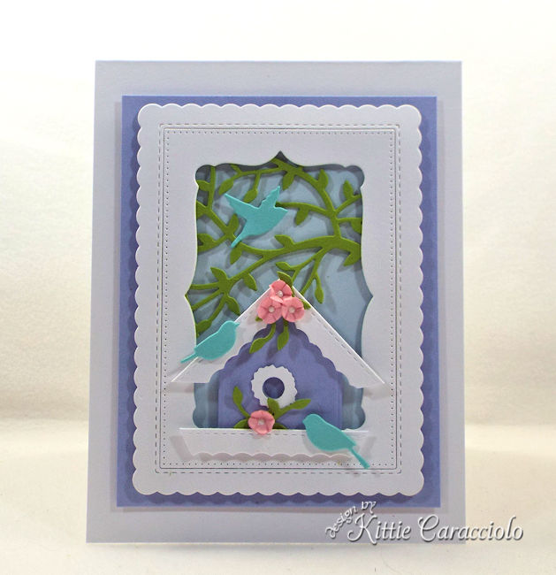 It's so easy to make a die cut bird house scene.