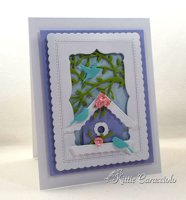 It's so much fun to make a die cut bird house scene.
