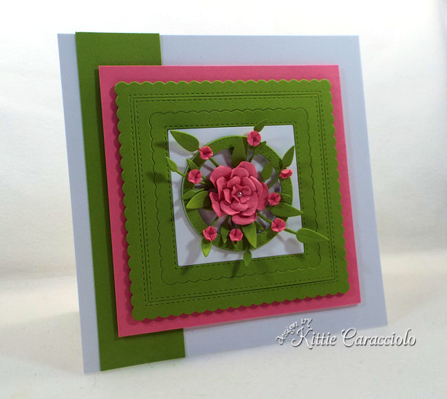 Paper frames and flowers are so elegant on a card front.