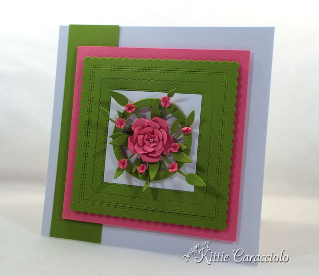 Paper frames and flowers are so pretty on a card front.