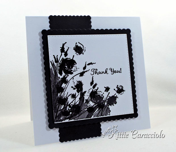 Silhouette flowers create such a pretty and elegant card front.