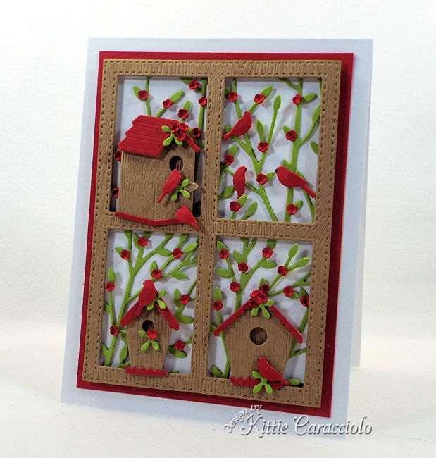 Come check out how I made this framed die cut bird house scene card.