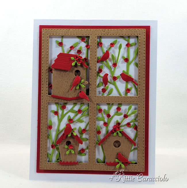 Come see how I made this framed die cut bird house scene card perfect for bird lovers..