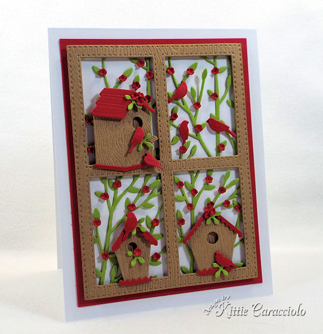 Come see how I made this framed die cut bird house scene card.