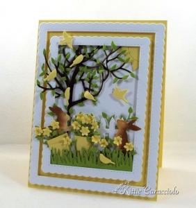 Die Cut Flowers and Bunnies Scene