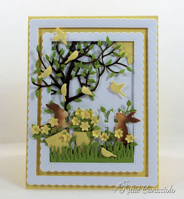 Come see how I make beautiful scenes with die cut flowers and bunnies to create wonderful cards for children.