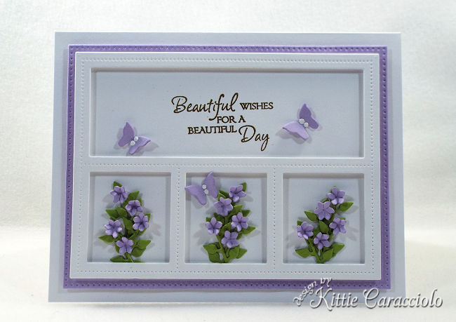 Create a gorgeous any occasion card with a lovely sentiment and framed die cut flower bouquets.