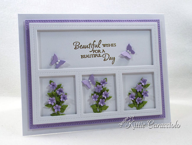 Create a gorgeous birthday card with a lovely sentiment and framed die cut flower bouquets.