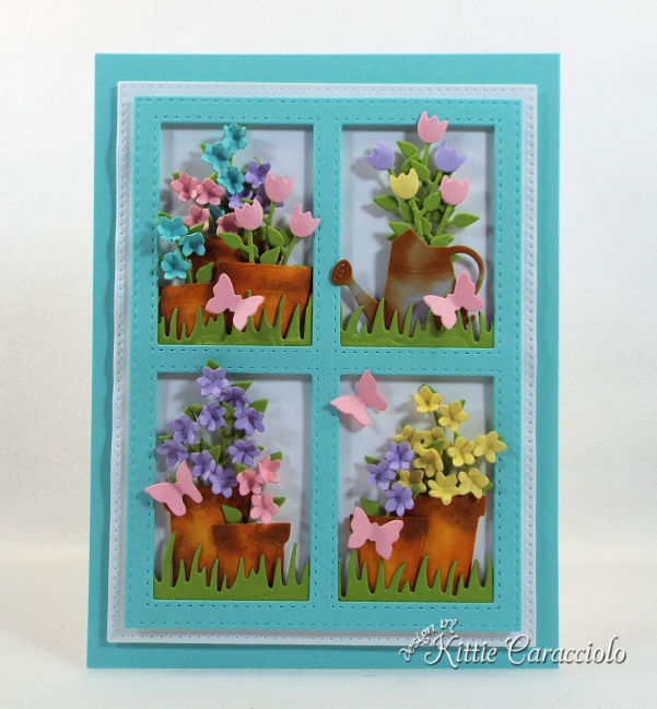 Framed flower pot die cuts create such a perfect garden scene card front for a gardener.