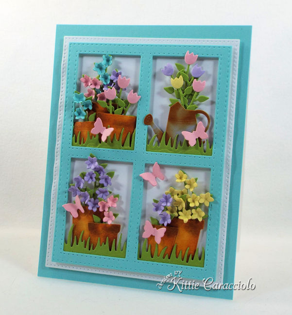 Framed flower pot die cuts create such a perfect garden scene card front for any occasion.