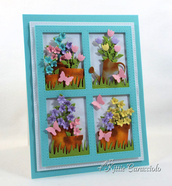 Framed flower pot die cuts create such a perfect garden scene card front for gardener's special day.