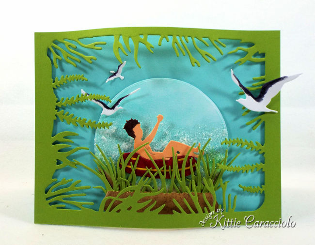 I had so much fun making this card using beach scene die cuts.