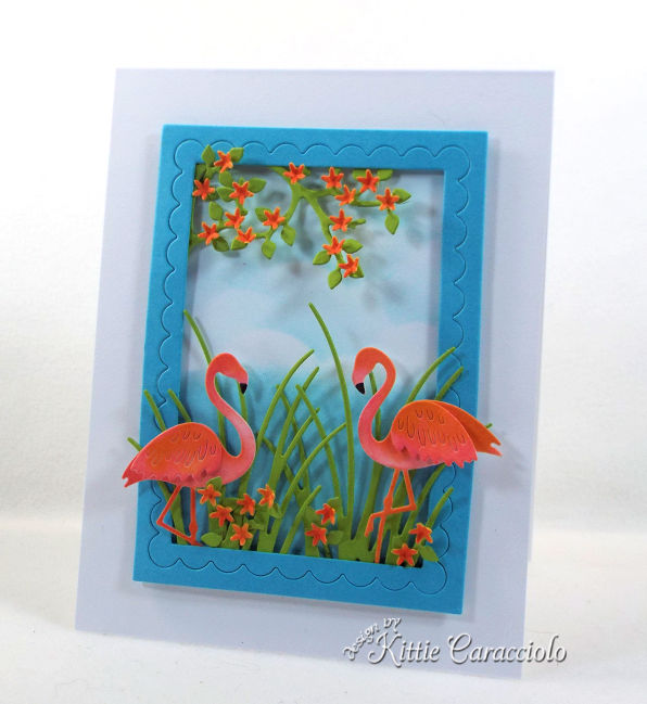 Come check out how I made this fun die cut flamingo scene card.