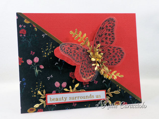 Come check out how I used the Spellbinders June Card Kit of the Month to create a butterfly card with gold floral embellishments.