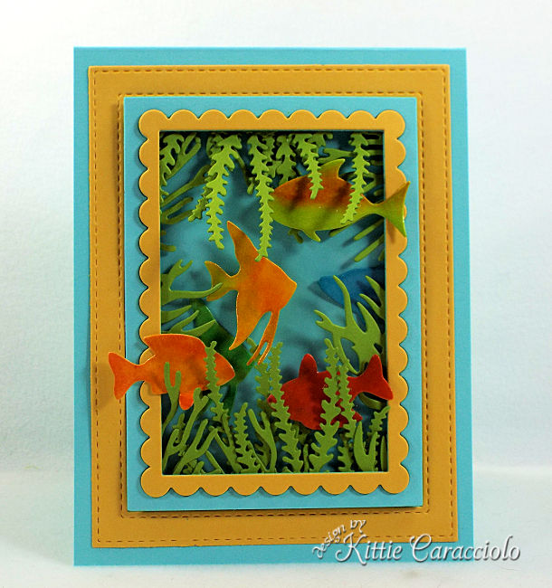 Come see how I made this die cut sea life scene card that is a perfect masculine card.